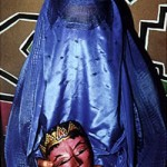 "Burqa with Held Mask - 14"" x 16"" Photo"